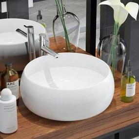 142340 vidaXL Chiuvetă de baie rotundă, alb, 40 x 15 cm, ceramică