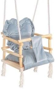 Leagan pentru copii, lemn, perna inima albastru deschis, 33.4x34.5x25 cm, Springos