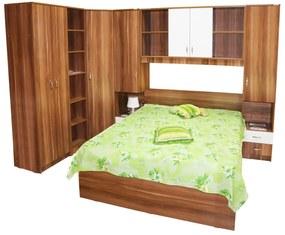 Dormitor Nora pe colt cu pat 140x200 cm, Prun / Alb