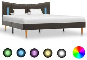 288546 vidaXL Cadru de pat cu LED, antracit, 140 x 200 cm, piele ecologică