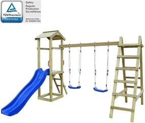 Set joacă, tobogan, scări, leagăne, lemn de pin, 286x237x218cm