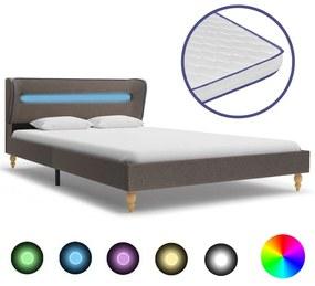 277693 vidaXL Pat cu LED și saltea spumă memorie, gri, 120 x 200 cm, textil
