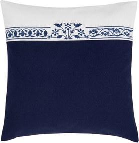 Fata de perna decorativa cu borderie albastru alb Flower 40*40 cm