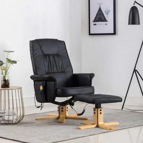 248625 vidaXL Fotoliu de masaj rabatabil cu taburet, negru, piele ecologică