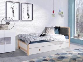 Pat pentru copii – ZARA 180x80 cm tapițerie maro pat + spațiu de depozitare