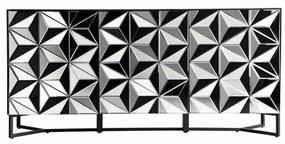 Bufet inferior negru/argintiu din sticla si otel 180 cm Thaya Vical Home