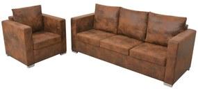 274884 vidaXL Set canapea, 2 piese, imitație piele întoarsă