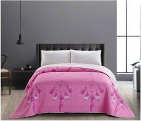 Cuvertură cu 2 fețe din microfibră DecoKing Sweet Dreams, 240 x 260 cm, roz-alb