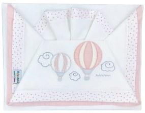 Set lenjerie carucior 3 piese roz cu baloane 3/400 D01 Andy Helen