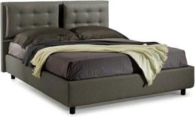 Pat Dormitor Matrimonial Bed&Sofa Bologna iSomn 160x200 cm, fara lada de depozitare, piele ecologica, gri