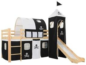282711 vidaXL Cadru pat etajat copii cu tobogan & scară 97x208cm lemn de pin