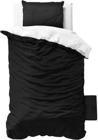 Lenjerie de pat de o persoană, din micropercal Zensation Twin Face, 140 x 200 cm, negru - alb
