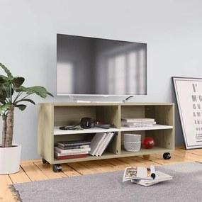 800185 vidaXL Comodă TV cu rotile, alb & stejar Sonoma, 90x35x35, PAL