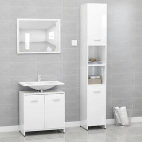 3056922 vidaXL Set mobilier de baie, 3 piese, alb extralucios, PAL