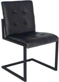 Scaun Comerfo din piele naturala, Negru, 86,5 x 51,5 x 59,5 cm