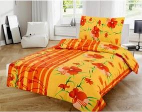 Lenjerie din bumbac Flori, portocaliu, 140 x 200 cm, 70 x 90 cm