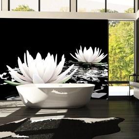 Fototapet Bimago - Water lilies on the abstract surface + Adeziv gratuit 200x154 cm