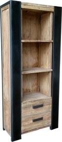 Biblioteca din tec si metal Croco 88x202 cm