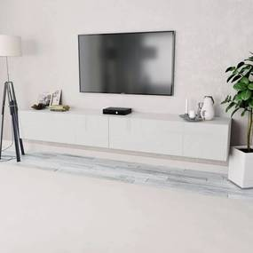 Comode TV, 2 buc, PAL, 120 x 40 x 34 cm, alb lucios