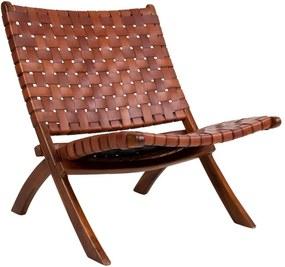 Scaun pliabil din piele și lemn de tec House Nordic Montana, maro