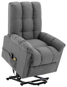 321390 vidaXL Fotoliu de masaj rabatabil vertical gri deschis material textil