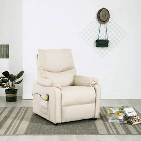 322455 vidaXL Fotoliu de masaj rabatabil, crem, material textil