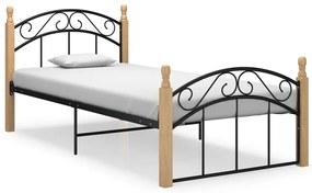 324926 vidaXL Cadru de pat, negru, 100x200 cm, metal și lemn masiv stejar