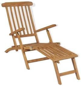 43800 vidaXL Șezlong cu suport picioare, lemn masiv de tec