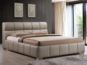 Pat dormitor bej inchis piele eco 160x200 cm Bologna Cappuccino | PRIMERA COLLECTION