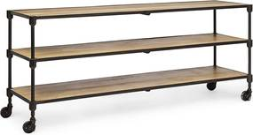 Comoda TV cu 3 polite din lemn natur si cadru fier maro Lendon 152 cm x 42 cm x 65 h