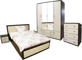 Dormitor Torino cu pat pentru saltea 140x200 cm, Wenge / Brad
