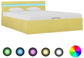 285620 vidaXL Cadru pat hidraulic ladă & LED, galben lime, 120x200 cm, textil