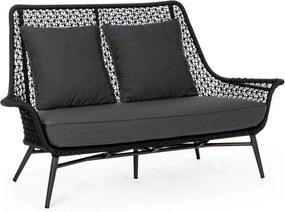 Canapea 2 locuri cu picioare din fier si perne textil gri Cristobal 157 cm x 79.5 cm x 91.5 h x 39 h1 x 52.5 h2