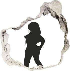 Fototapet 3D gaură în perete Silueta unei femei