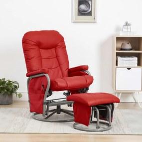 249933 vidaXL Fotoliu rabatabil cu taburet, roșu, piele ecologică