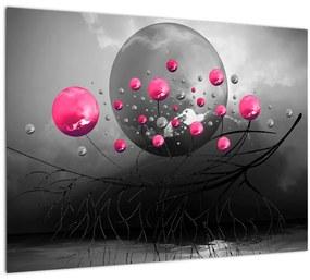 Tablou cu bile abstracte roz (70x50 cm), în 40 de alte dimensiuni noi