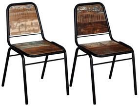 244246 vidaXL Scaune de bucătărie, 2 buc., lemn masiv reciclat
