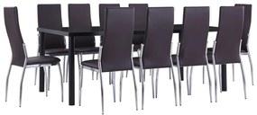 3053141 vidaXL Set mobilier de bucătărie, 11 piese, maro, piele ecologică