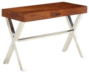 245652 vidaXL Birou, lemn masiv de acacia, finisaj sheesham, 110 x 50 x 76 cm