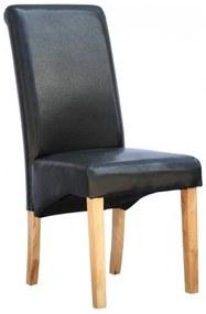 Scaun de living Cambridge, piele sintetica neagra, picioare lemn natur