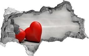 Autocolant de perete gaură 3D Inima pe lemn