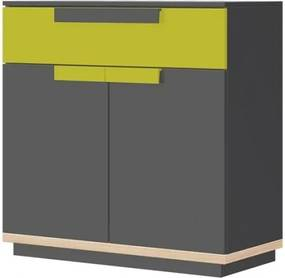 Cabinet din pal, cu 1 sertar si 2 usi Wow 06 Graphite / Green, l95xA41xH90 cm