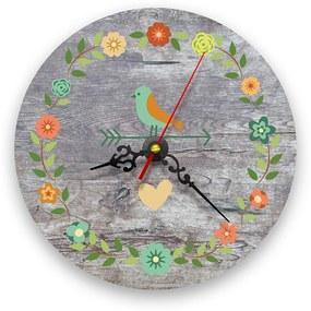 Ceas de perete - Pasari si flori vintage lemn, 21 cm