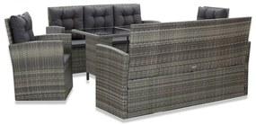 46115 vidaXL Set mobilier de exterior cu perne, 5 piese, gri, poliratan