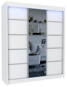 Expedo Dulap cu uși glisante și oglindă ELVIRA, alb, 180x216x61
