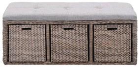 246115 vidaXL Bancă din iarbă de mare, 3 coșuri, 105 x 40 x 42 cm, gri