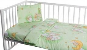 Lenjerie patut cu 3 piese Ursuletul somnoros Verde