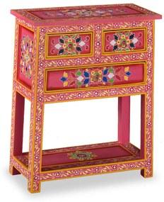 244841 vidaXL Servantă cu sertare, lemn masiv de mango, roz, pictat manual