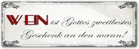 CARO Tablou metalic - Wein Ist Gottes Zweitbestes 50x20 cm