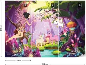 Fototapet GLIX - Unicorns And Fairies In The Forest + adeziv GRATUIT Tapet nețesute  - 312x219 cm